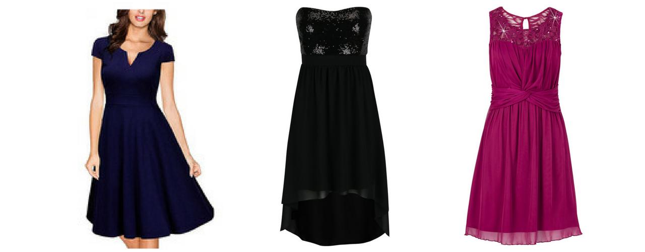 d6390feed Spoločenské šaty lacno nie je nemožné zohnať!. Na obrázku (zľava): Modré  šaty AliExpress (10 €), Čierne šaty ZOOT (24,95 €), Bordové šaty BonPrix  (23 €)
